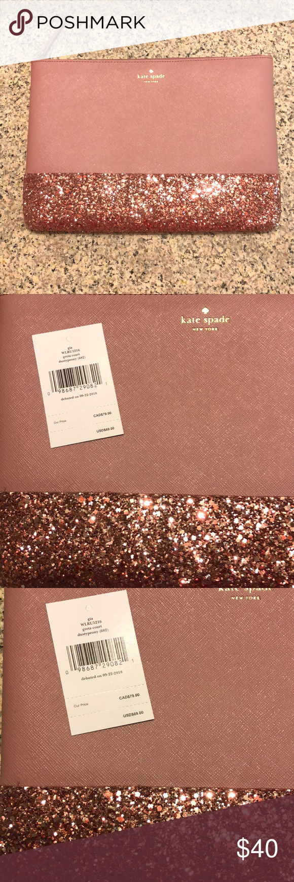 Last 1🚨 Kate Spade Glitter Clutch   Kate spade makeup bag ...