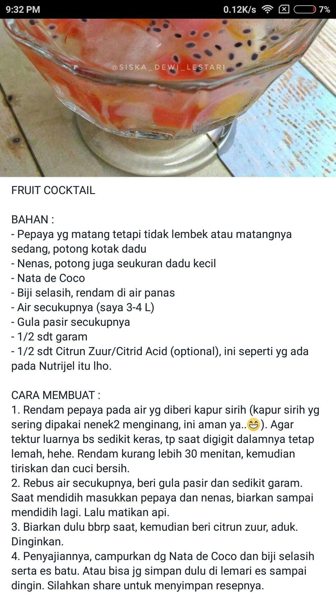 Fruit Cocktail Makanan Resep Masakan Resep Minuman
