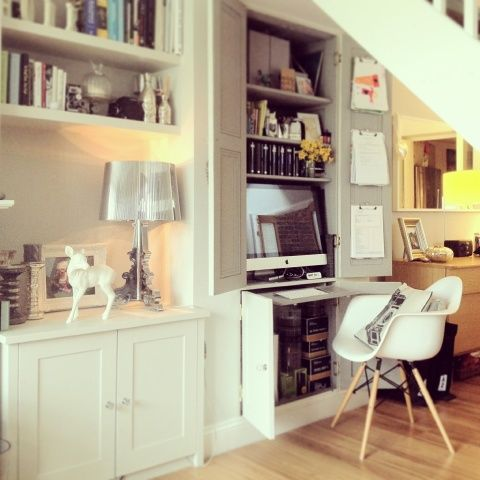 Work Station Behind Cupboard Doors Also Open Floating Shelf Alcove With Cabinet Below Desk In Living Room Home Alcove Desk