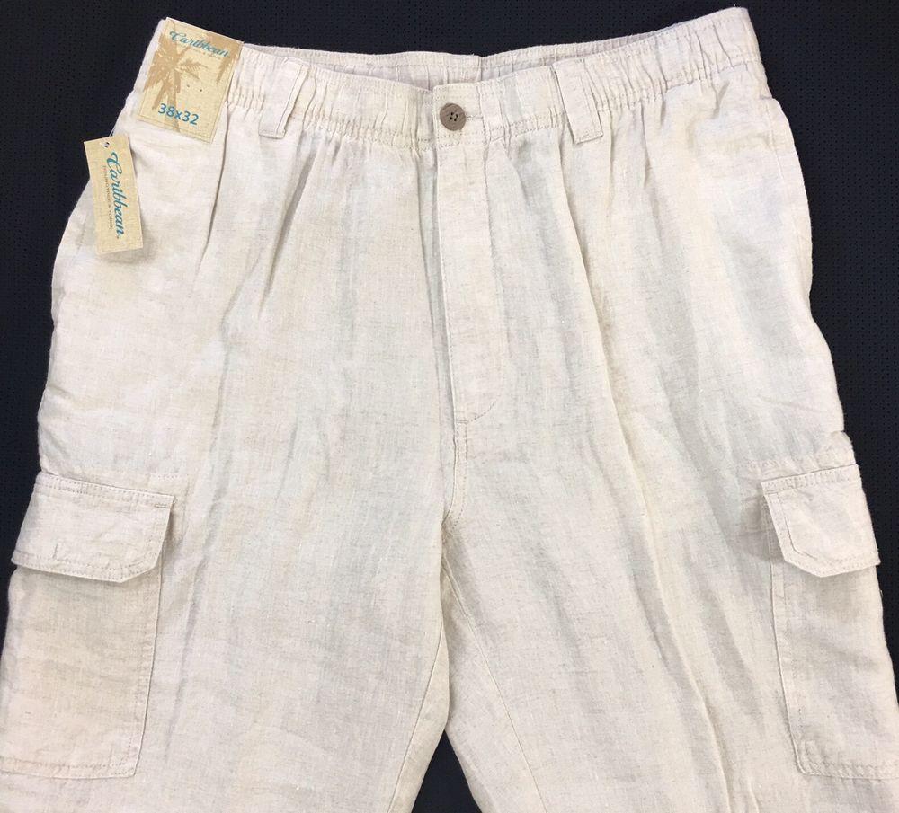 Caribbean 100/% Linen Cargo Pants Mens 38 x 32 White w// Elastic Waist NWT $79