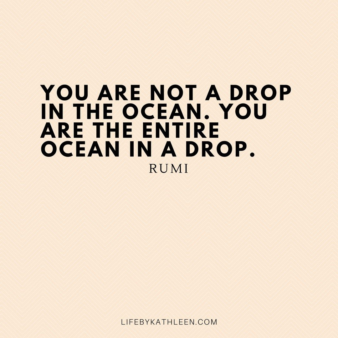 Motivational Inspirational You are not a drop in the ocean Rumi You are the entire ocean in a drop Floating Quote Framed Art Sign
