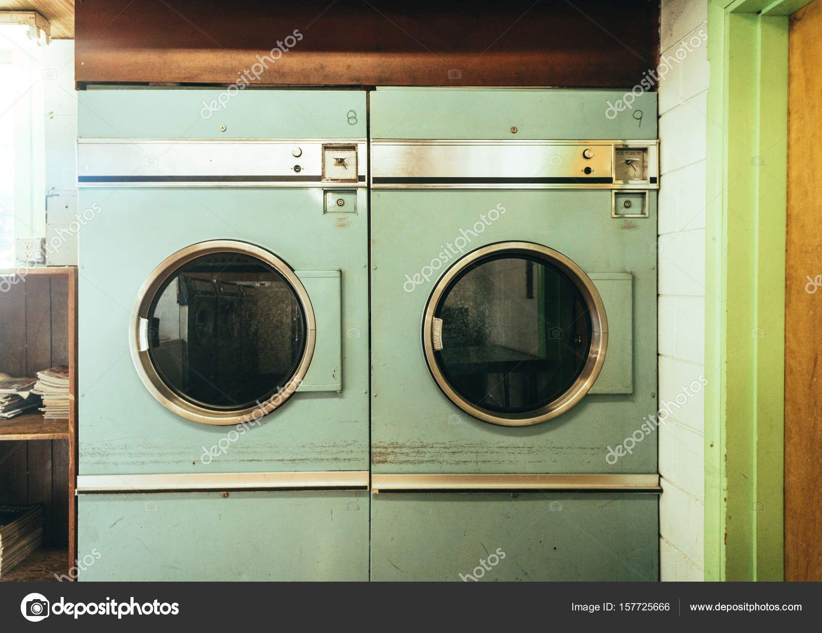 Download Old Beat Up Vintage Washing Machines Sit In A Run Down Laundry Mat Showing Years Of Use S Vintage Washing Machine Laundry Mat Old Washing Machine