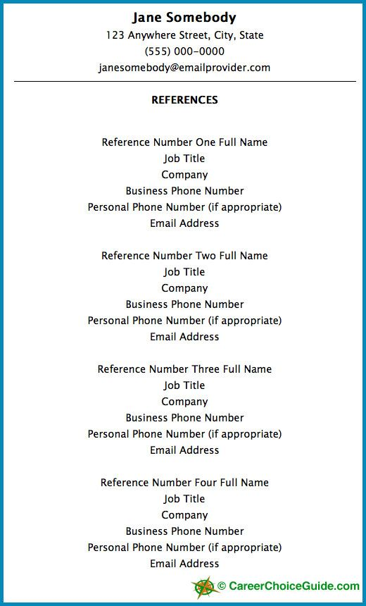 Resume Reference Page Setup Job Hunting Reference page for