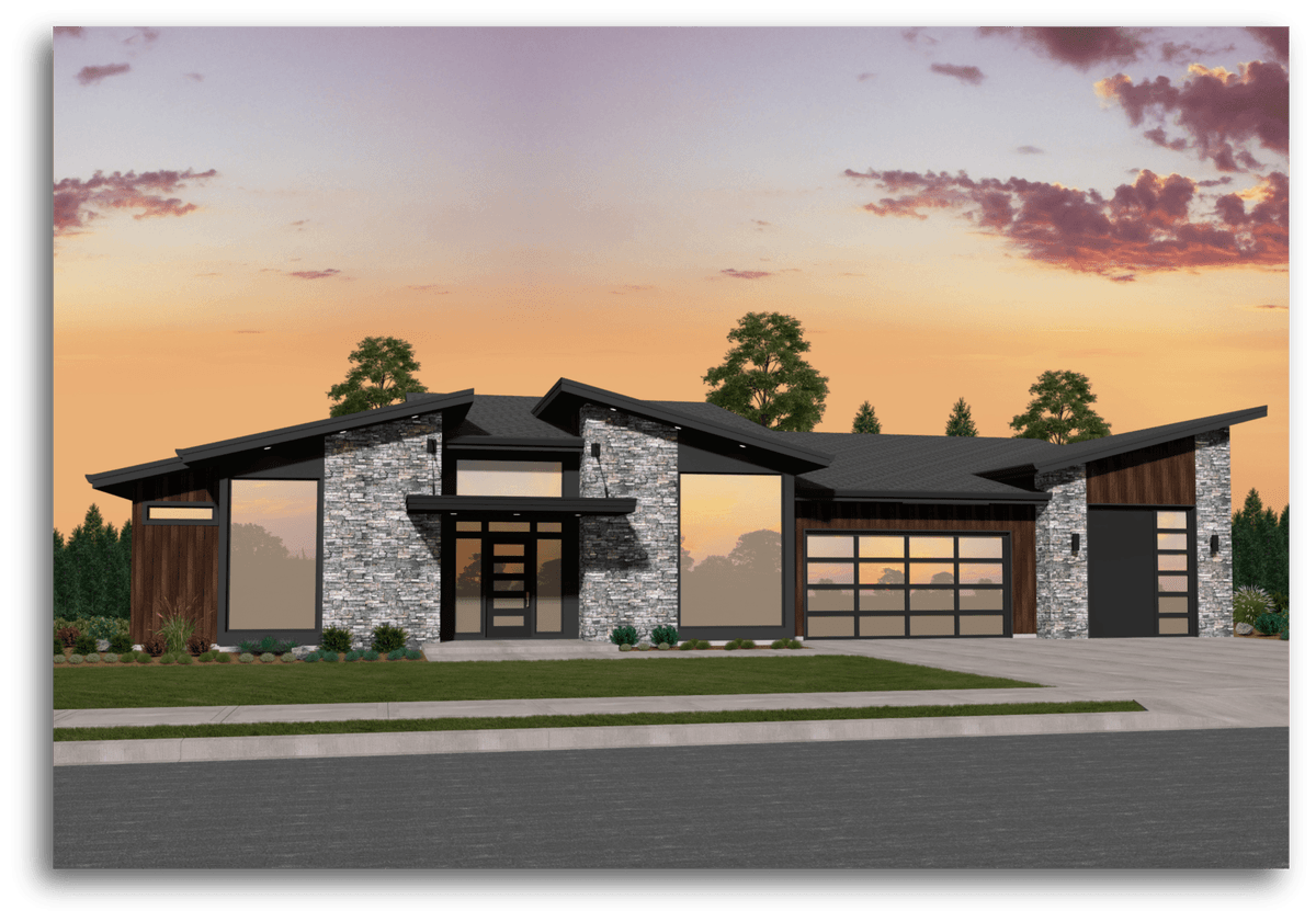 Mi 6 Modern House Plan One Story Modern House Plans With A Garage Modern Style House Plans Prairie Style Houses Architectural Design House Plans