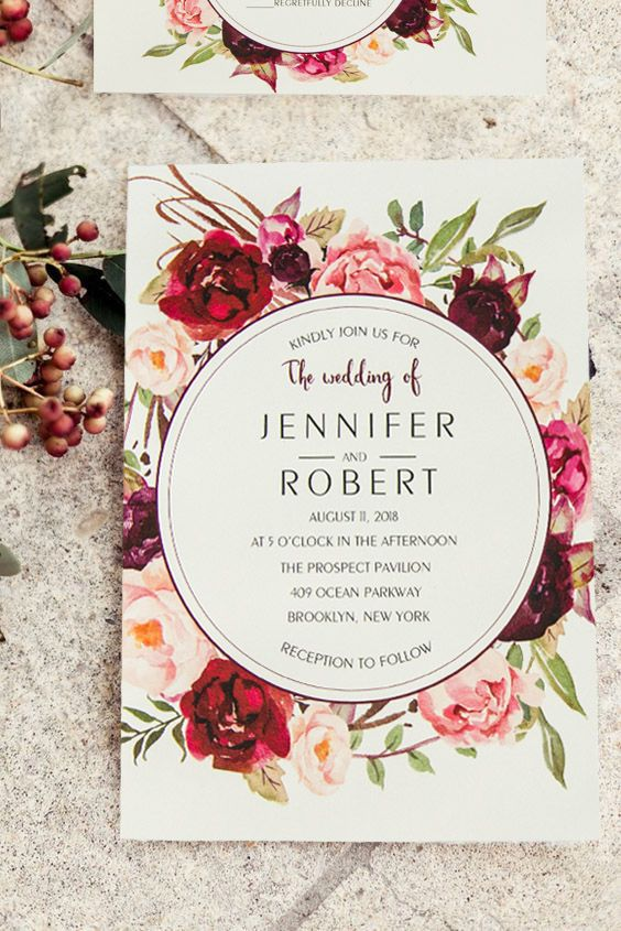 Cheap burgundy floral boho wedding invitations ewi421 pinterest cheap burgundy floral boho summer and fall wedding invitations stopboris Images