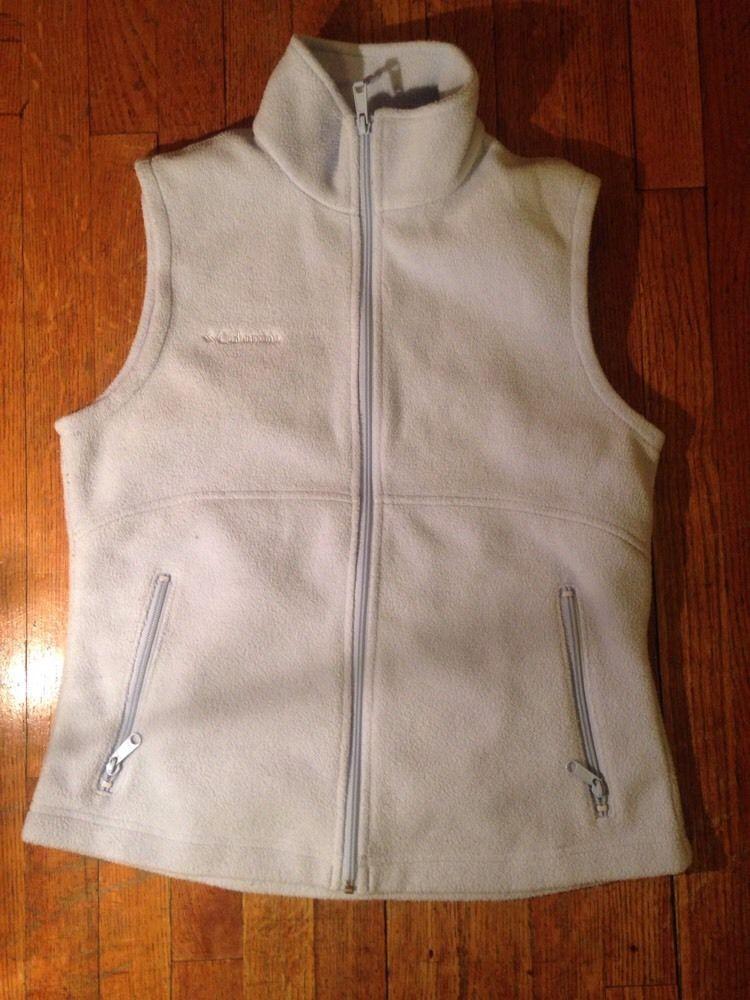 Women's Columbia Micro Fleece Plush Vest Zip Size Large Light Baby Blue Pastel
