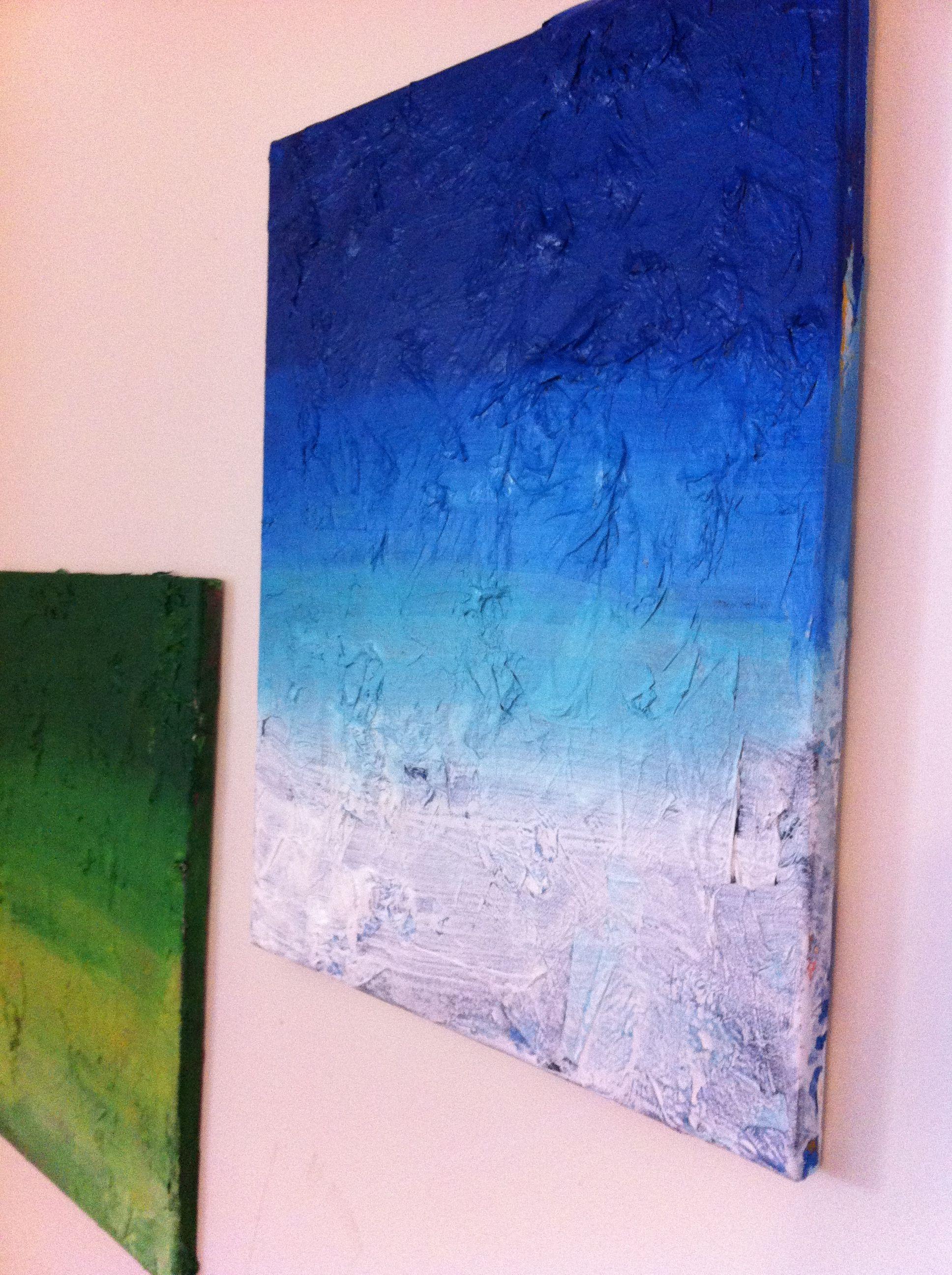 mod podge tissue paper on canvas then ombré painted