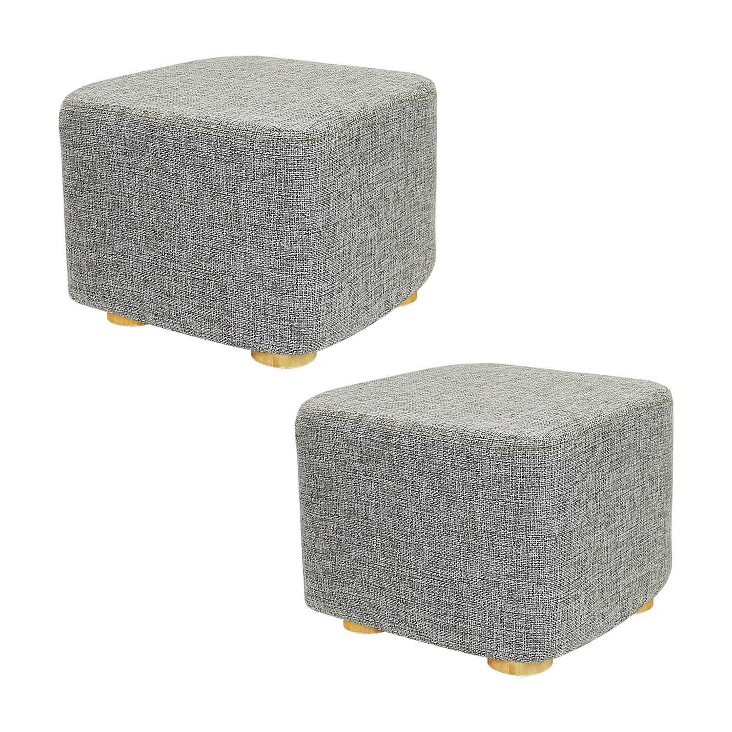 Met Life 2 Piece Square Ottoman Foot Stool 4 Leg Stands Short