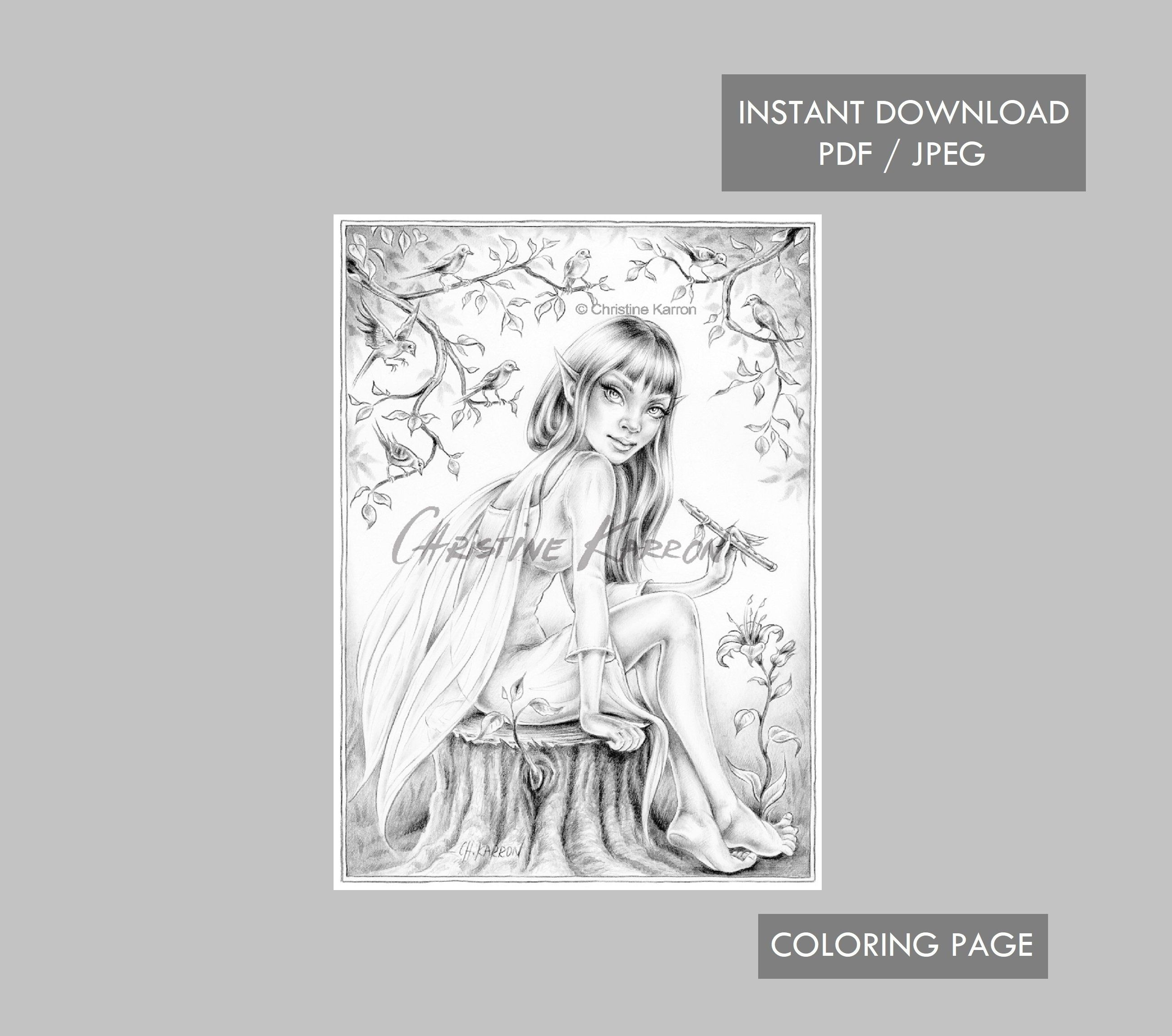 The Magic Flute Fairy Coloring Page Grayscale Instant Etsy Fairy Coloring Pages Fairy Coloring Coloring Pages [ 2300 x 2600 Pixel ]