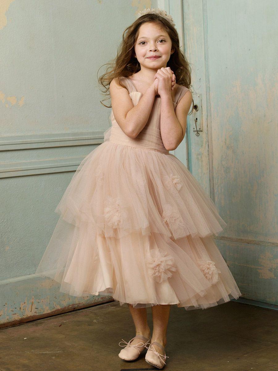 Little girl dresses for weddings  Nina Scavo tulleshirredstrapallurebabygirldressforwedding