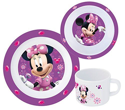 Teller und Trinkbecher Geschirr Set Geschirrset Minnie Maus mit Müslischale