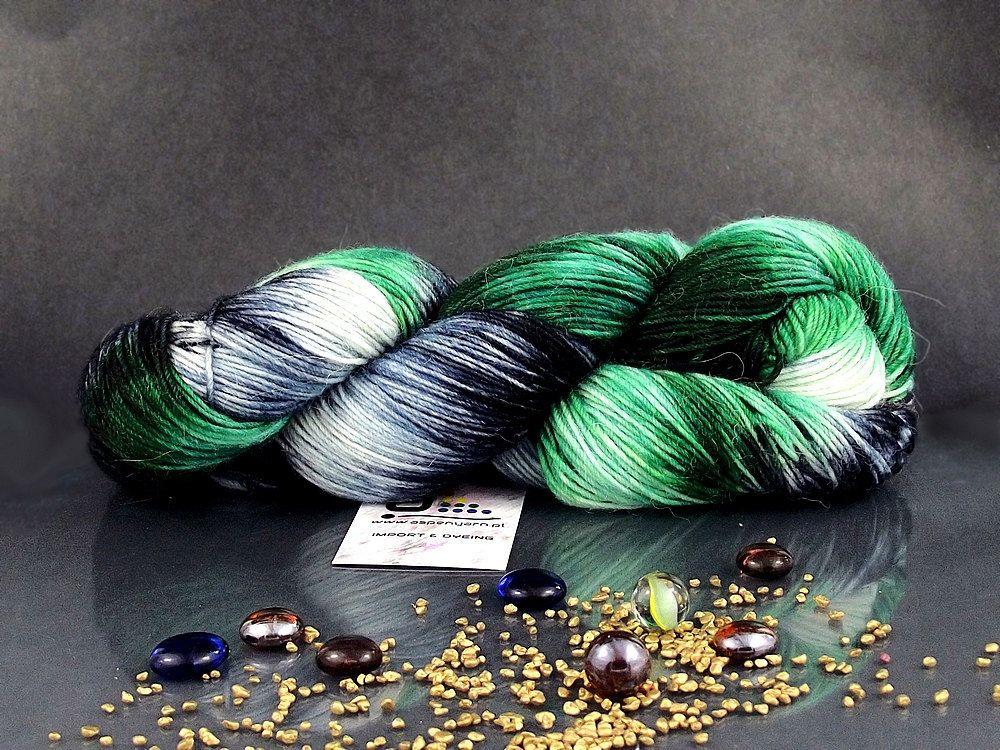 Kiwi Fruit - Hand Dyed Yarn, Alpaca Superfine, Merino Superwash, Nylon in Green, Navy and White Shades, Hand Dyed Fingering Yarn by AspenYarnDyeing on Etsy