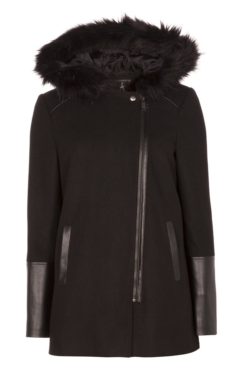 Black fur coat primark