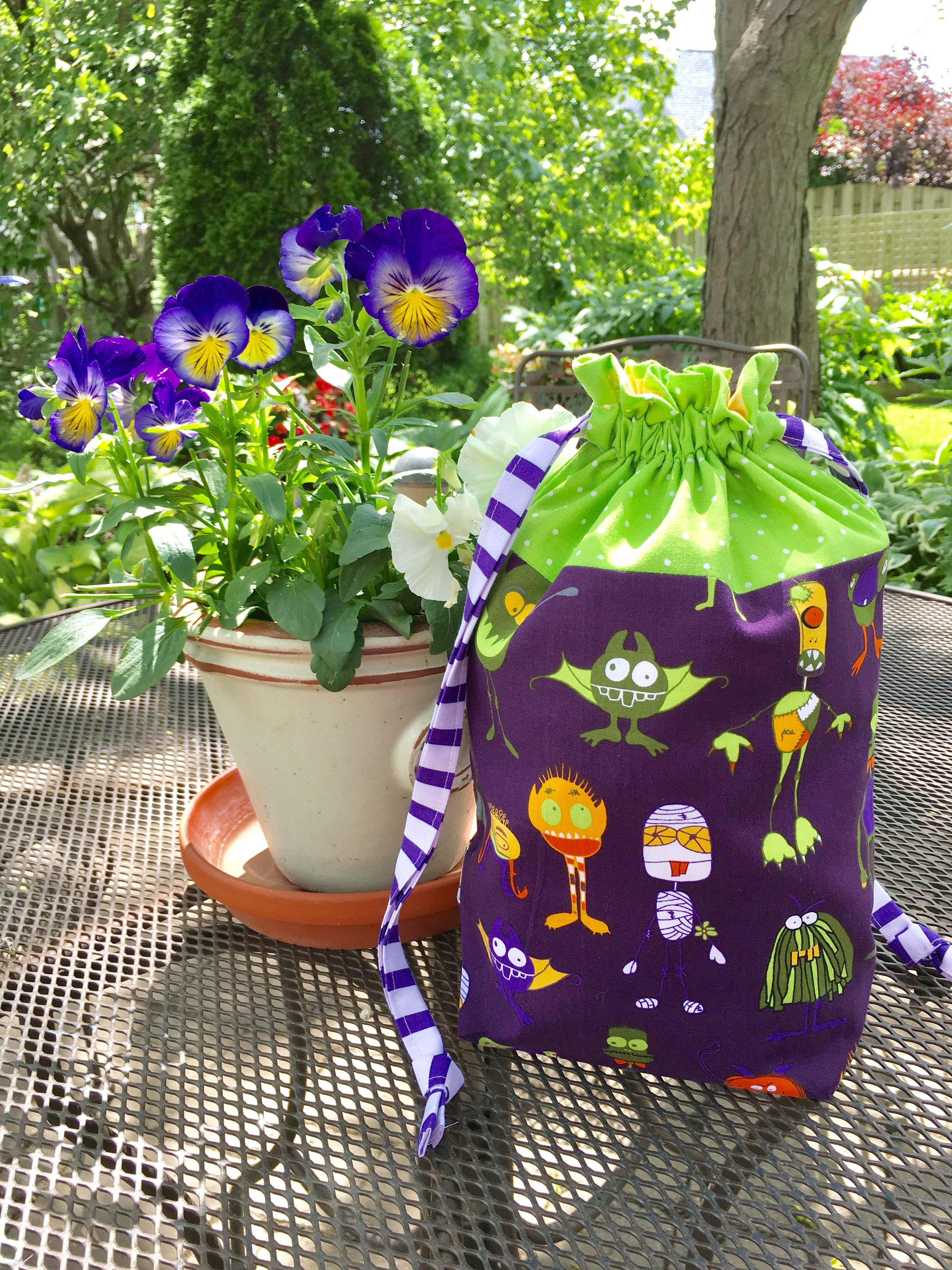 Goblins and ghouls drawstring project bag knitting bag Halloween