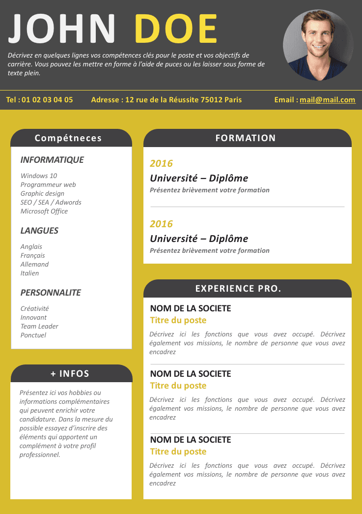 cv simple et original