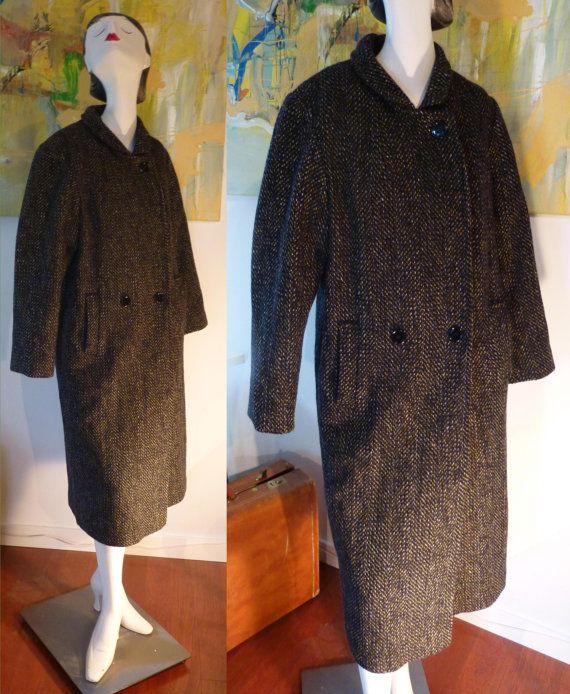 vintage gray wool herringbone coat by Niccolini / by vintagerita, $39.00
