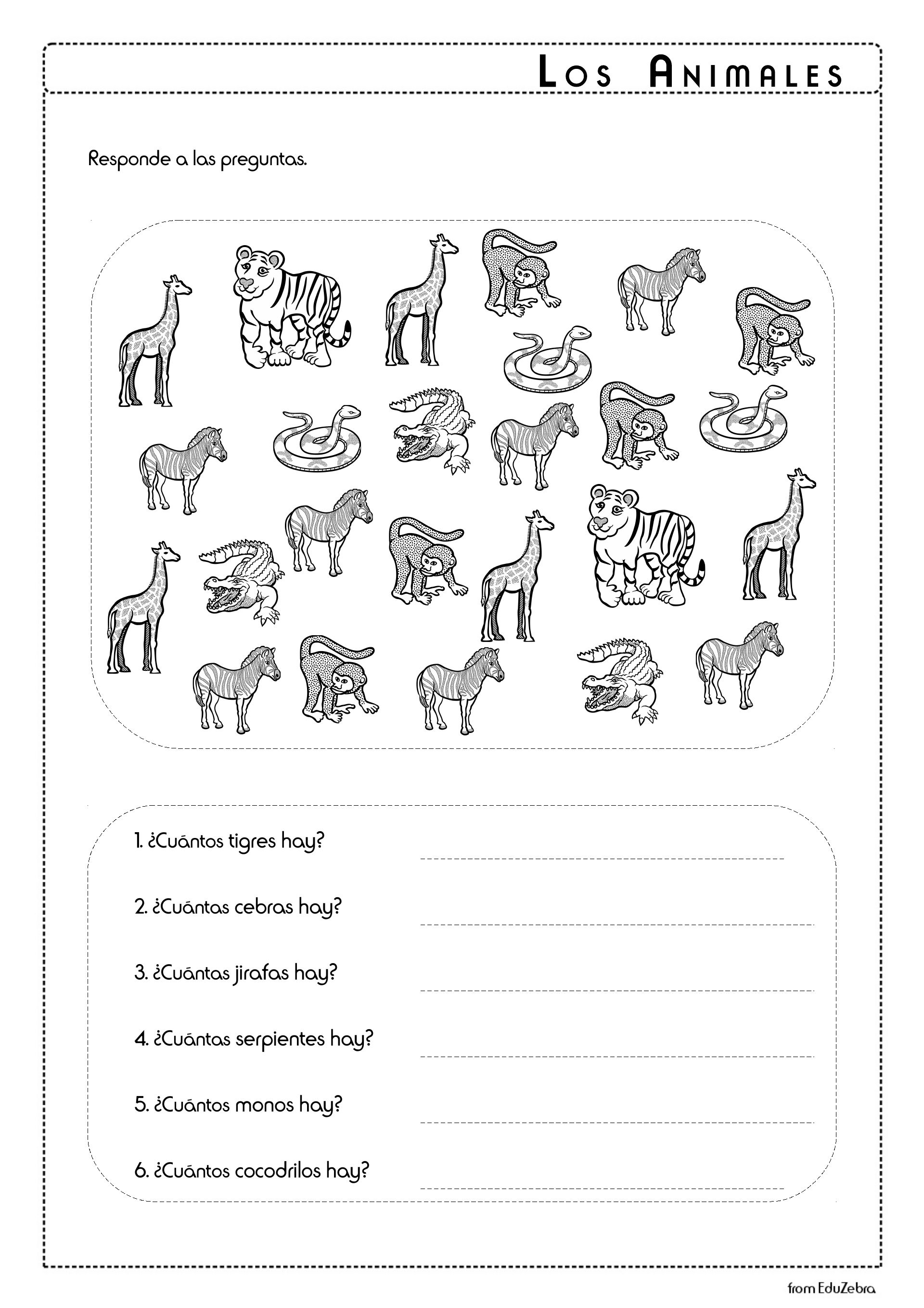 Los Animales Del Zoo Zoo Animals In Spanish Activity Pack Spanish Worksheets Color Worksheets For Preschool English Worksheets For Kids [ 2716 x 1920 Pixel ]