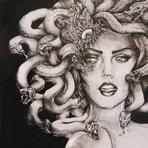 Medusa pin up | Magical Art in 2019 | Medusa drawing, Medusa art ...