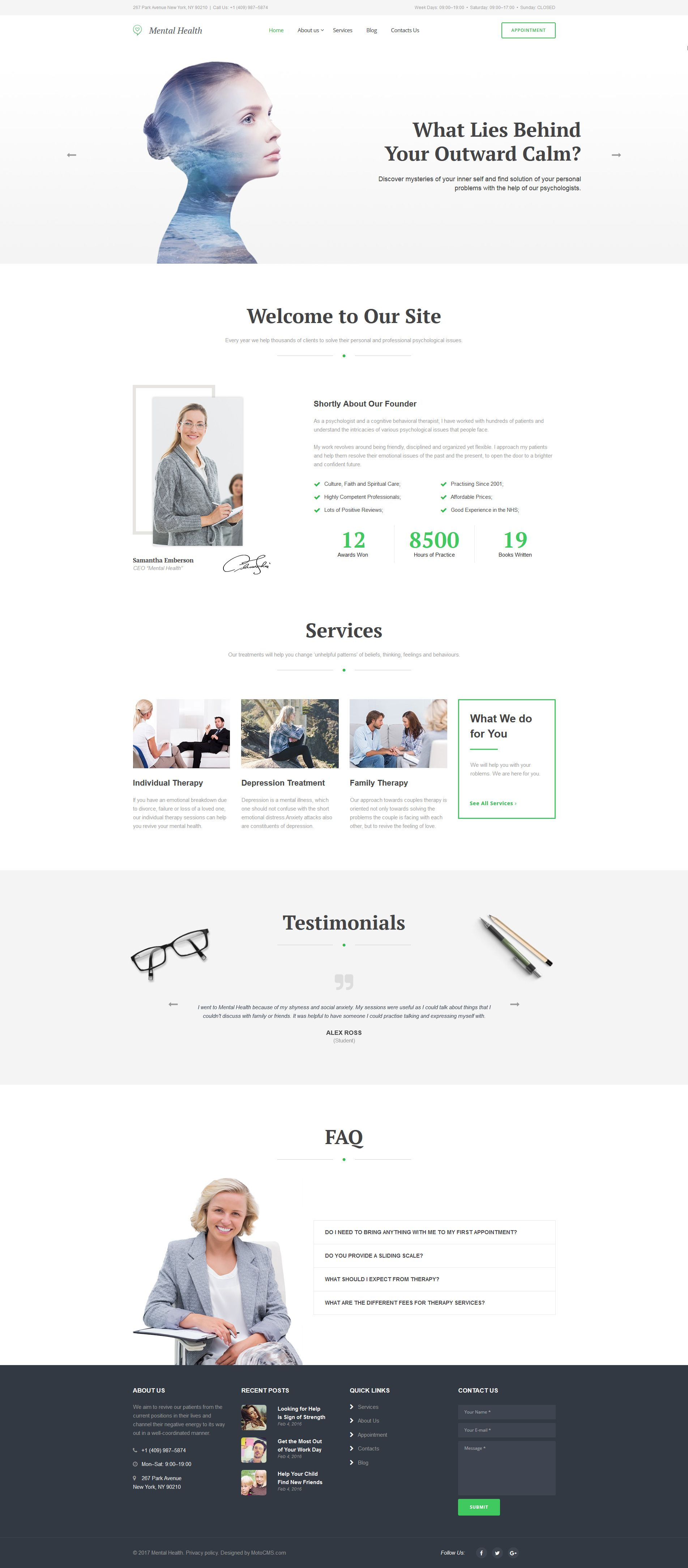 Mental health psychotherapy center moto cms 3 template