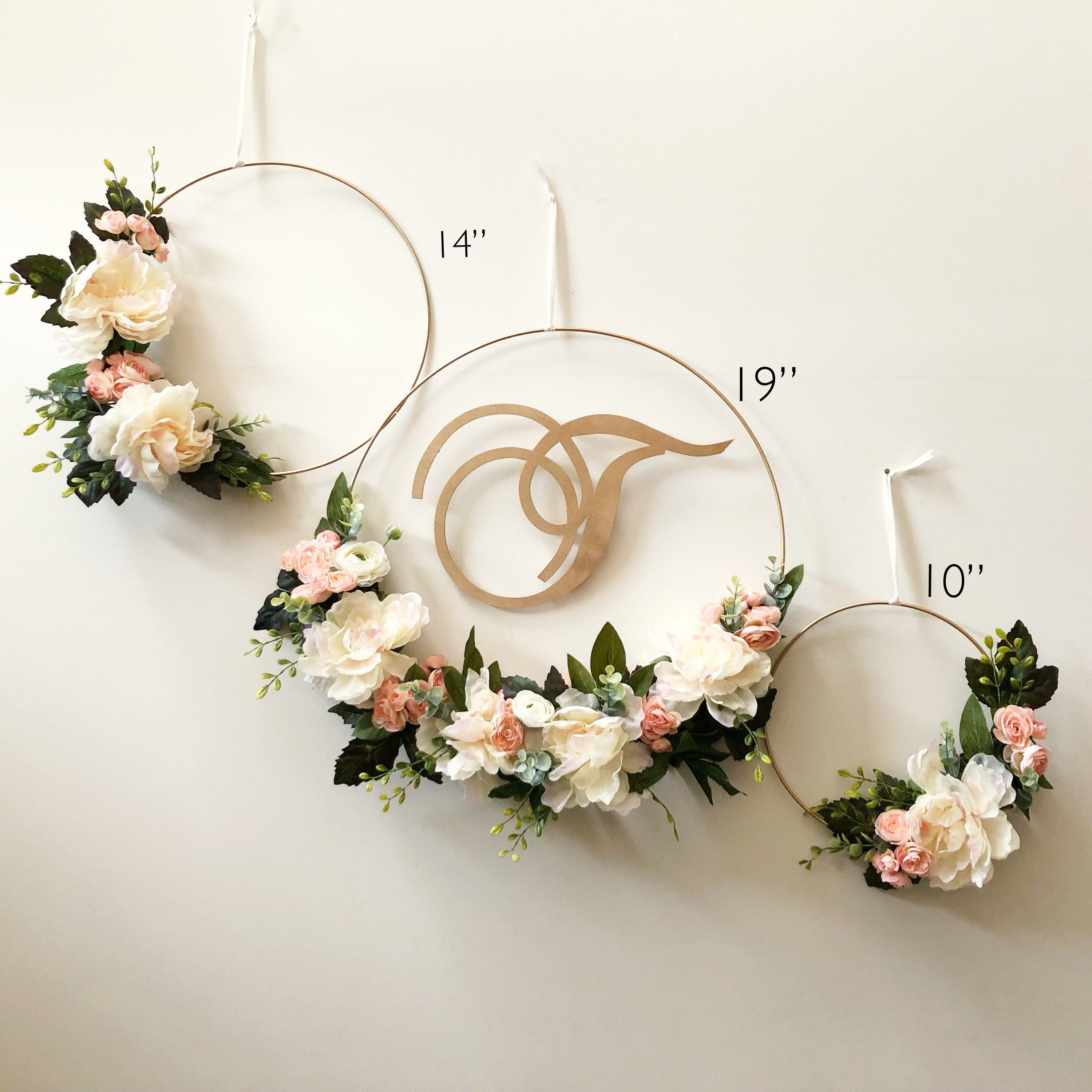 Photo of SET OF THREE – Modern Floral Hoop Wreaths set of three 19″, 14″, 10″- Modern Wreath with Initial – Peacheas and Cream