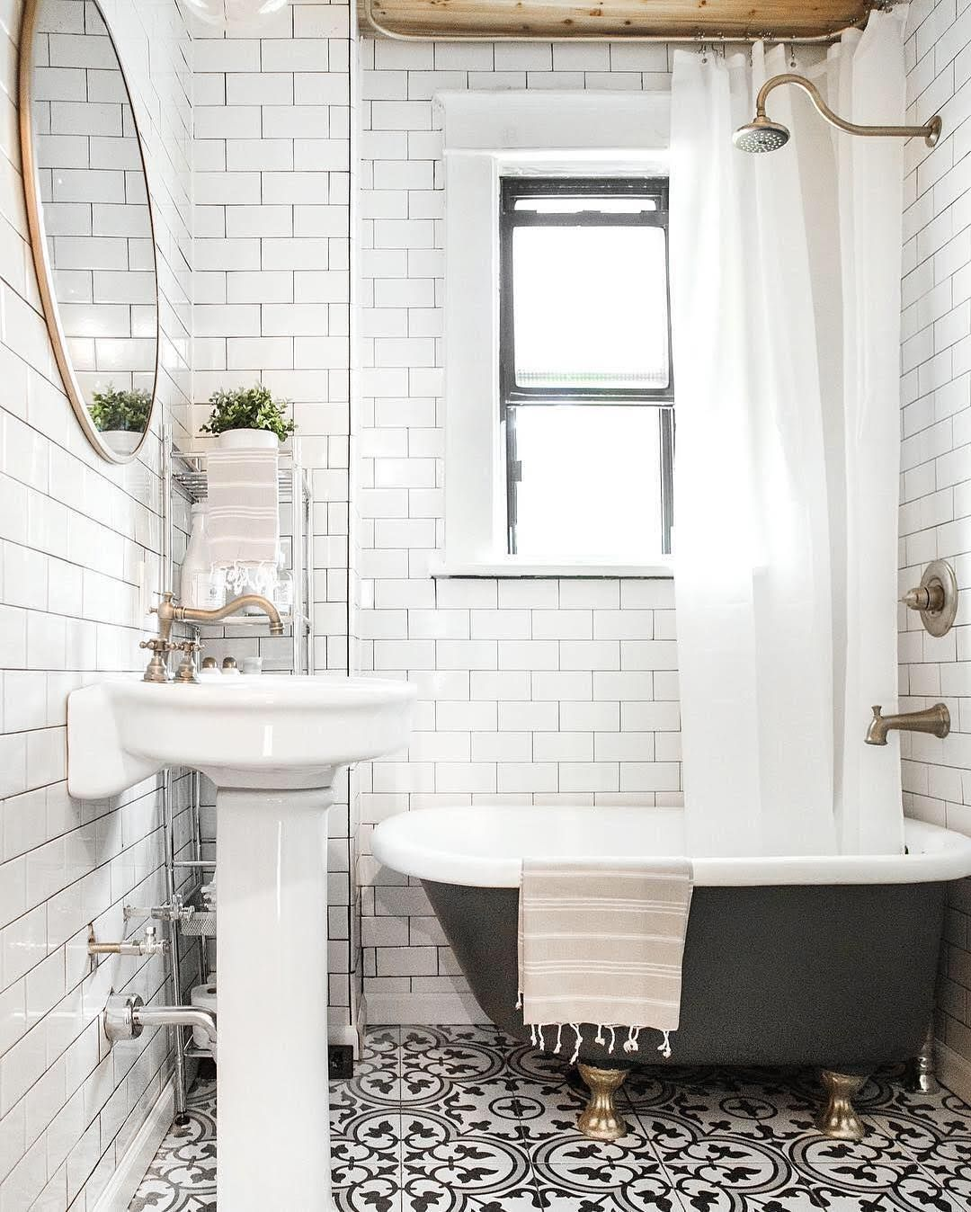 Freshen Up Your Bathroom In With This Mixed Tile Trend - Small bathroom remodel with clawfoot tub