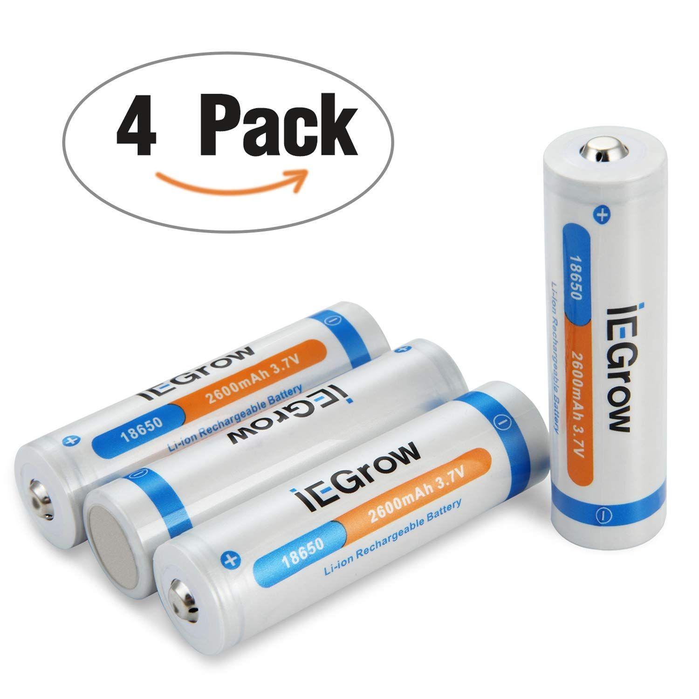18650 Piles Iegrow Piles Rechargeables Accu Li Ion Batterie 2600mah 3 7v Capacite Reelle Batteries Pour Flashs Lot De 4 P Pile Rechargeable Batterie Capacite