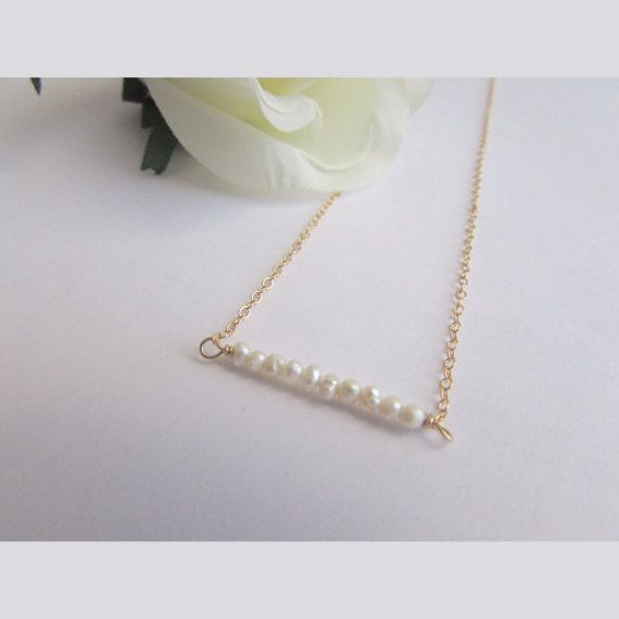 Freshwater Pearl West 4 bar Necklace by MIDORIROSA on Etsy