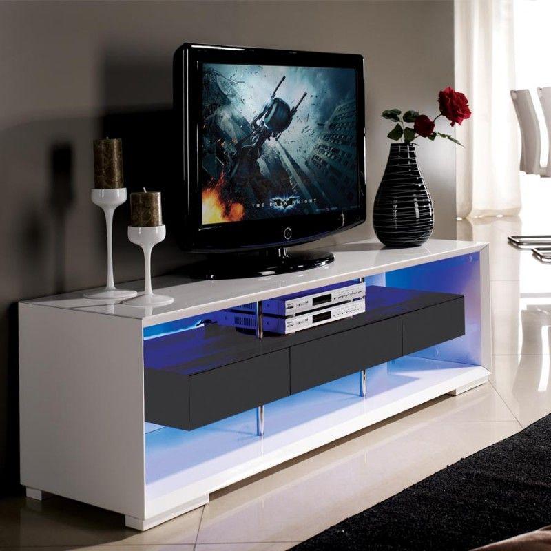 TV-meubel Jovani Design Hoogglans Wit en Grijs / LED-Verlichting ...
