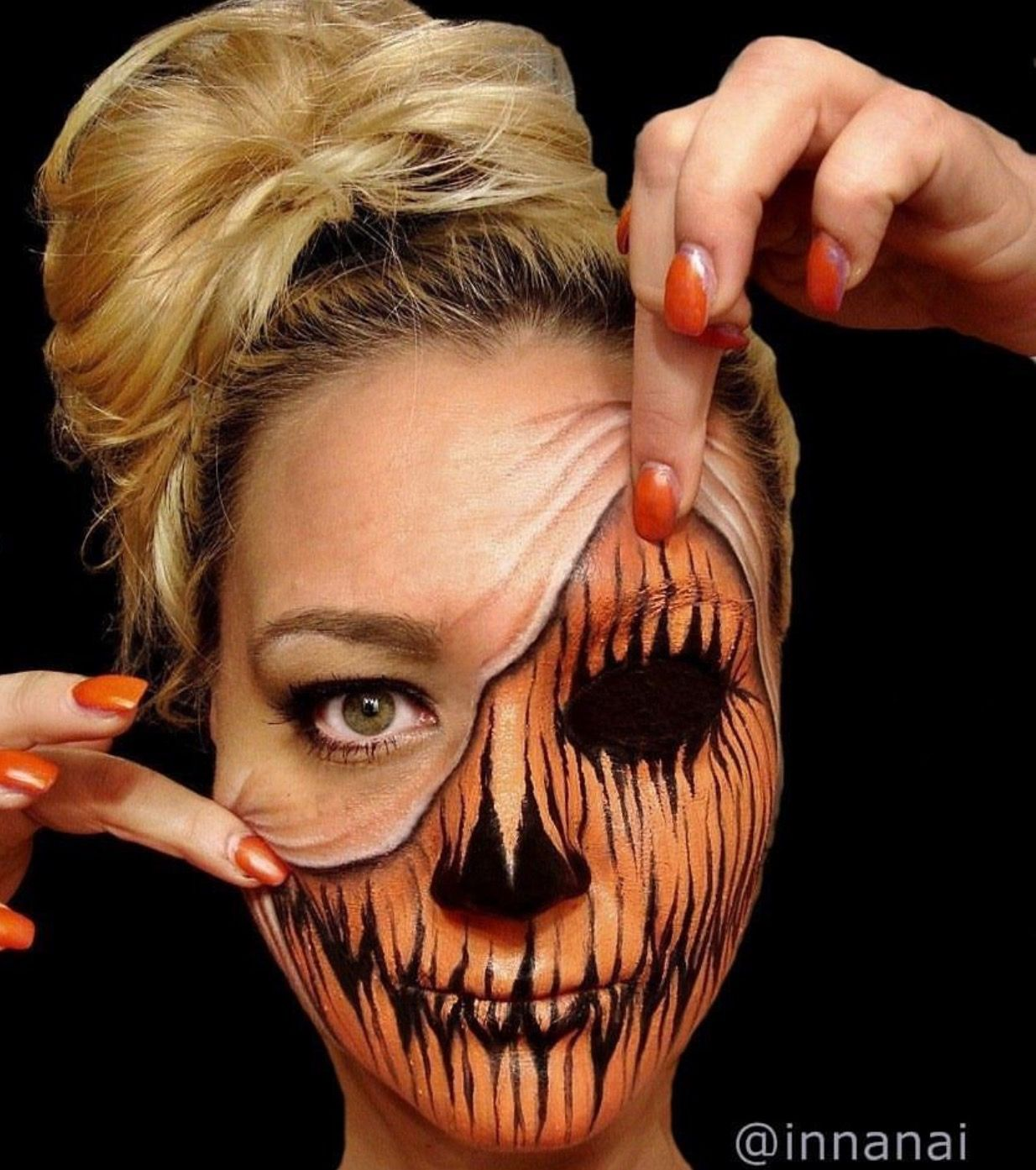 Pumpkin makeup by @innanai | All About Makeup | Pinterest | Makeup ...