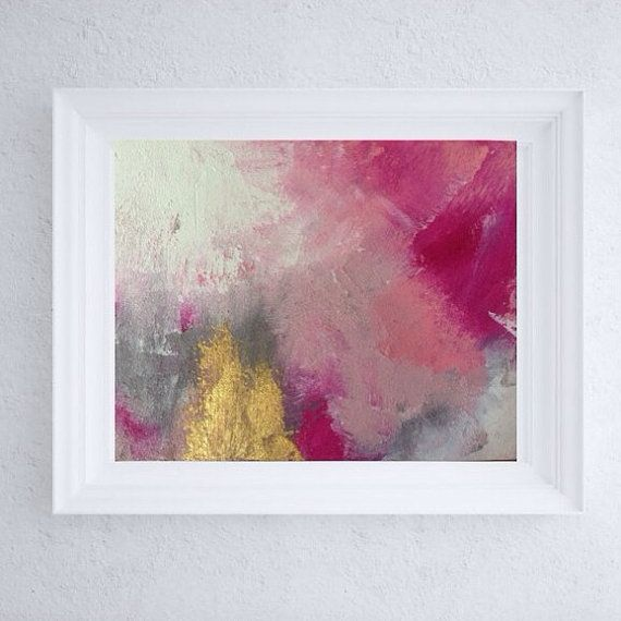 8x10 Painting 8x10 Abstract Art Pink And Gold Artwork Grey