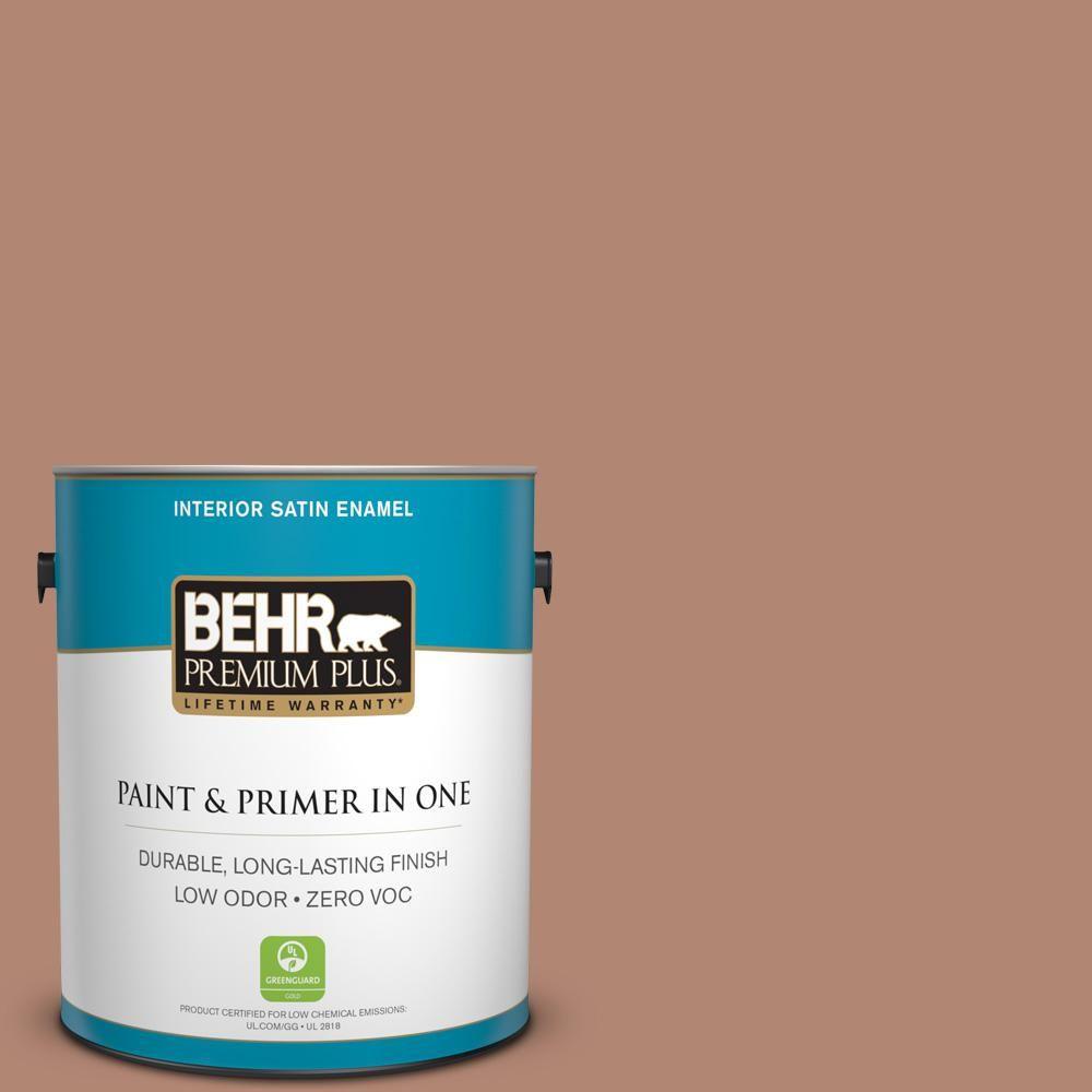 Behr Premium Plus 1 Gal S200 5 Minestrone Satin Enamel Low Odor Interior Paint And Primer In One 740001 Interior Paint Behr Exterior Paint