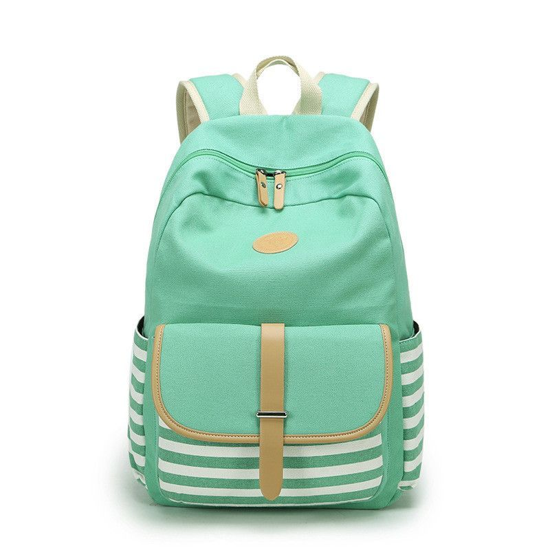 e5df02f2a535 Stripe Print Canvas Backpack School Travel Bag