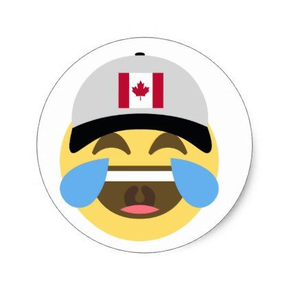 Canada hat laughing emoji classic round sticker