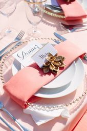 Pink and Gold Place Settings | Meg Perotti | Theknot.com,  #Gold #Meg #Perotti #Pink #Place #Settings #Theknotcom #weddingtablespink