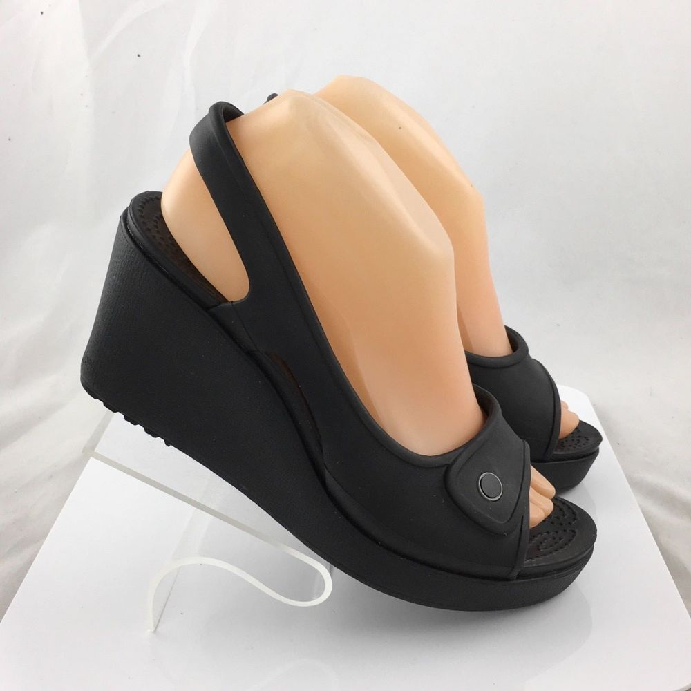 e11813ac1 CROCS Havana Womens Wedge Slingback Platform Black Sandals Open Toe Shoe  size 9  Crocs  PlatformsWedges  Casual