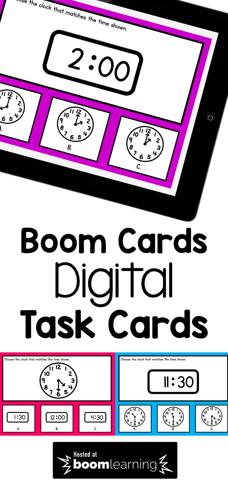 Telling Time To The Hour And Half Hour Boom Cards Telling Time Activities Telling Time Practice Time To The Hour [ 1700 x 799 Pixel ]