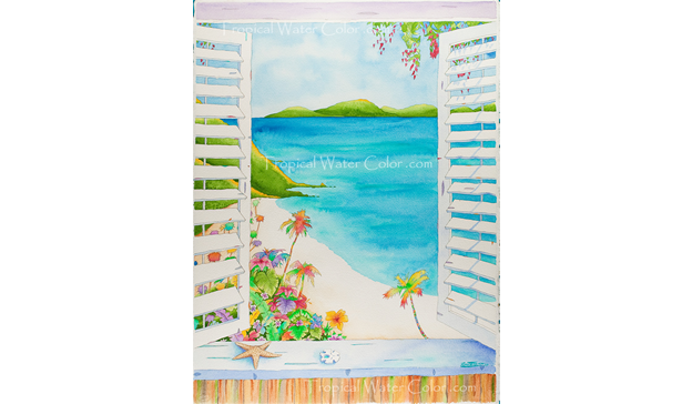 Tropical Watercolor Painting by Ron Teixeira