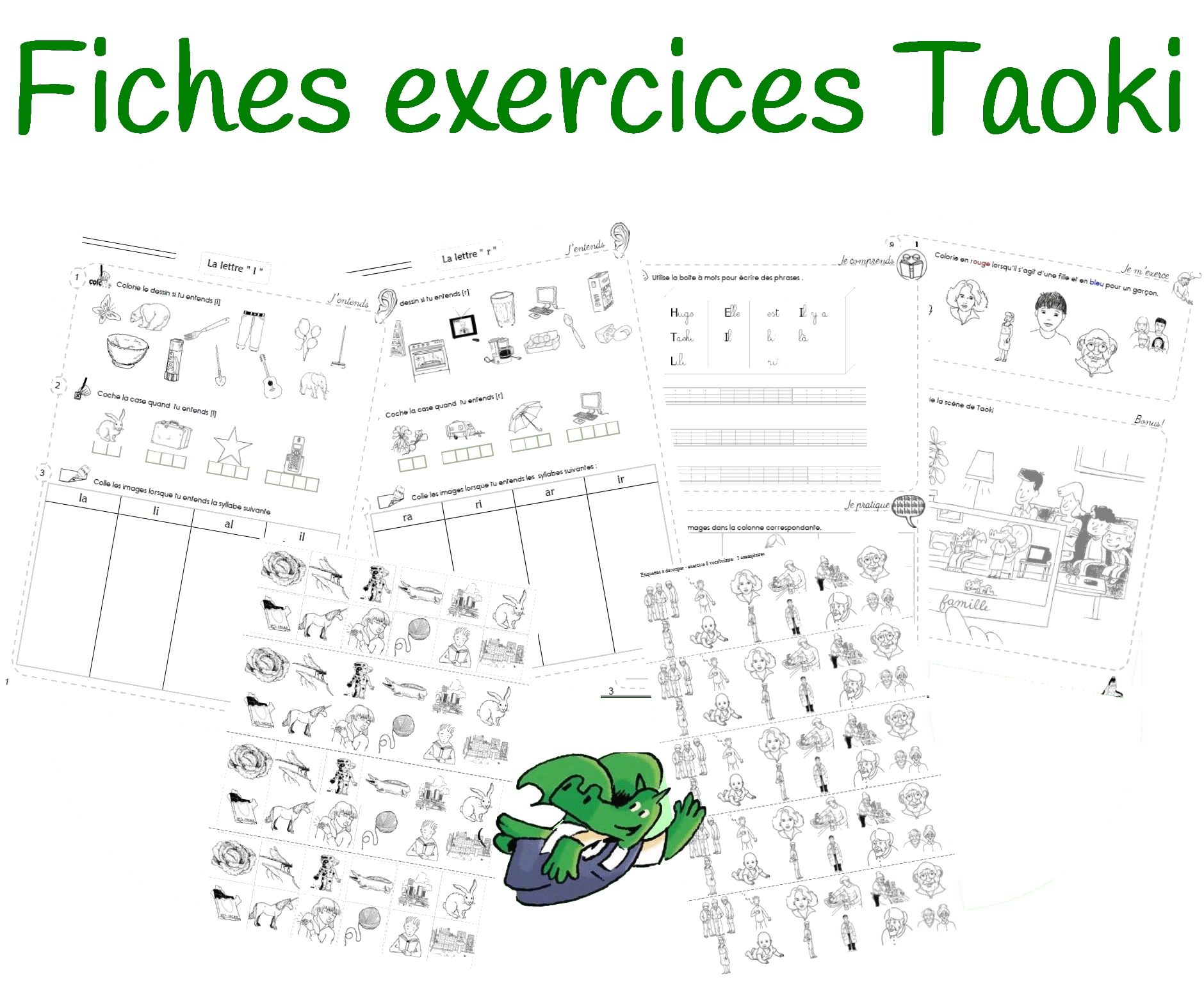 retrouvez un an de fiches d 39 exercices pour la m thode syllabique taoki ces fiches se d clinent. Black Bedroom Furniture Sets. Home Design Ideas