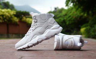 on sale b2939 271f9 Classic Men s NIke Huarache High Top Cushion Running Sports Shoes All White
