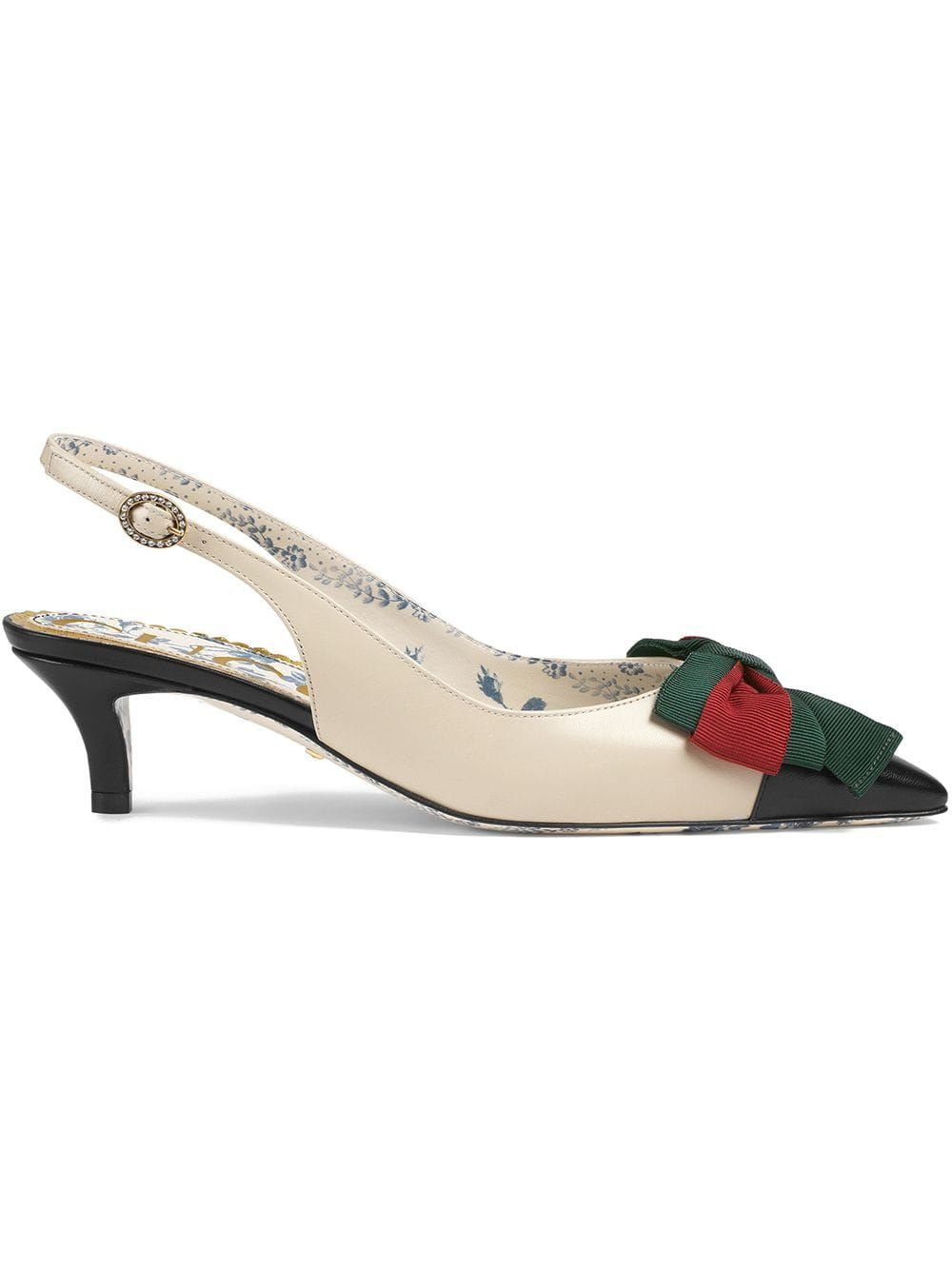 db817abd7 Gucci Leather sling-back pump with Web bow - White in 2019 ...