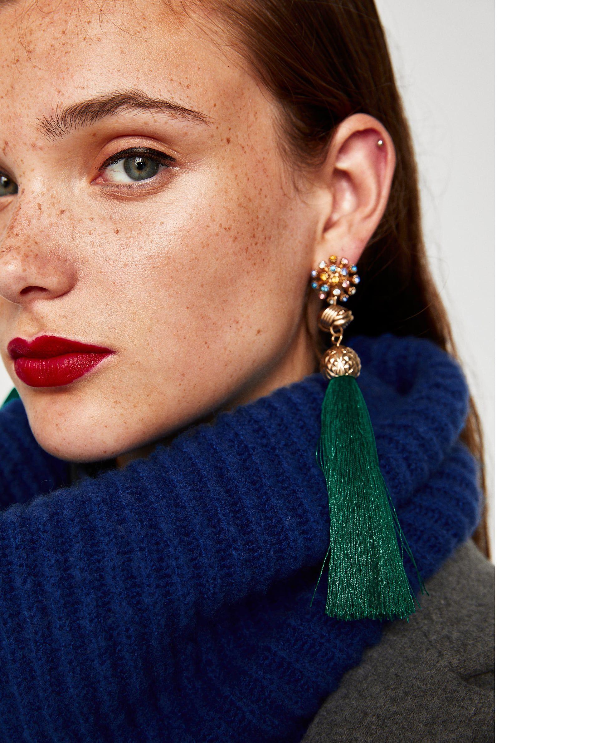 Zara pendientes Blue Tassel