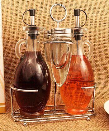Deluxe Cruet Set Oil and Vinegar Cruets, Salt and Pepper Shakers, and Chrome Rack