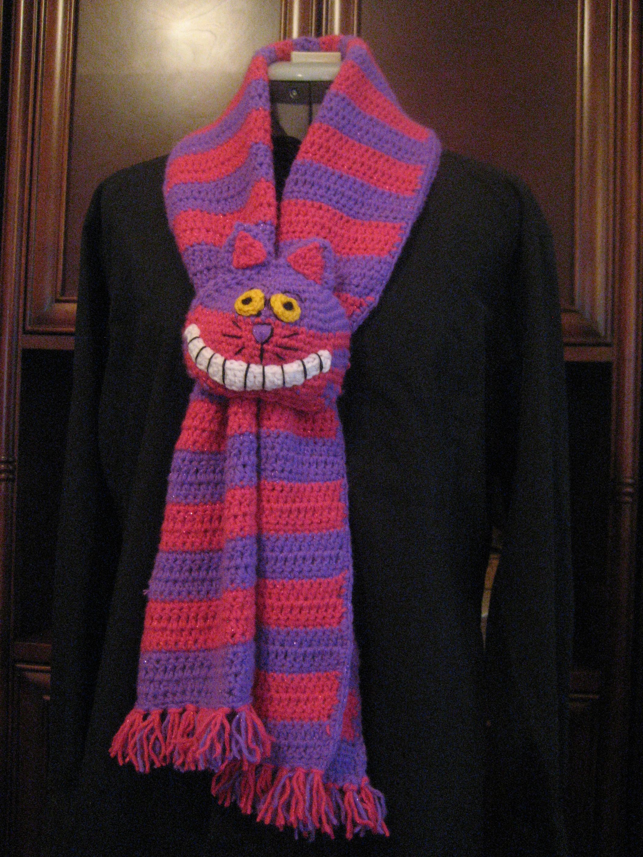 Crocheted Cheshire Cat Scarf in Red Heart Shimmer Yarn by Ruth Waits ...