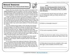 Natural Resources Reading Comprehension Worksheets