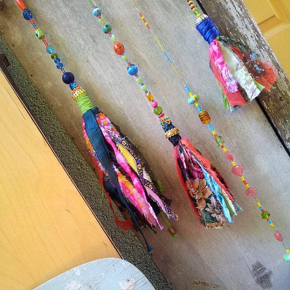 boho chic fabric tassels tassel glass bead strands wall hanging decoration handmade fabric wall. Black Bedroom Furniture Sets. Home Design Ideas