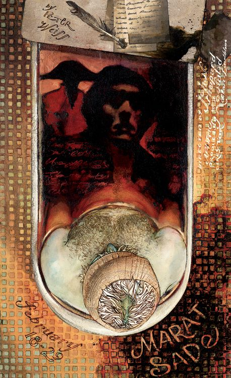 "Sterling Hundley, Marat/Sade, 11"" x 18"", mixed (acrylic, tar, collage on board),"
