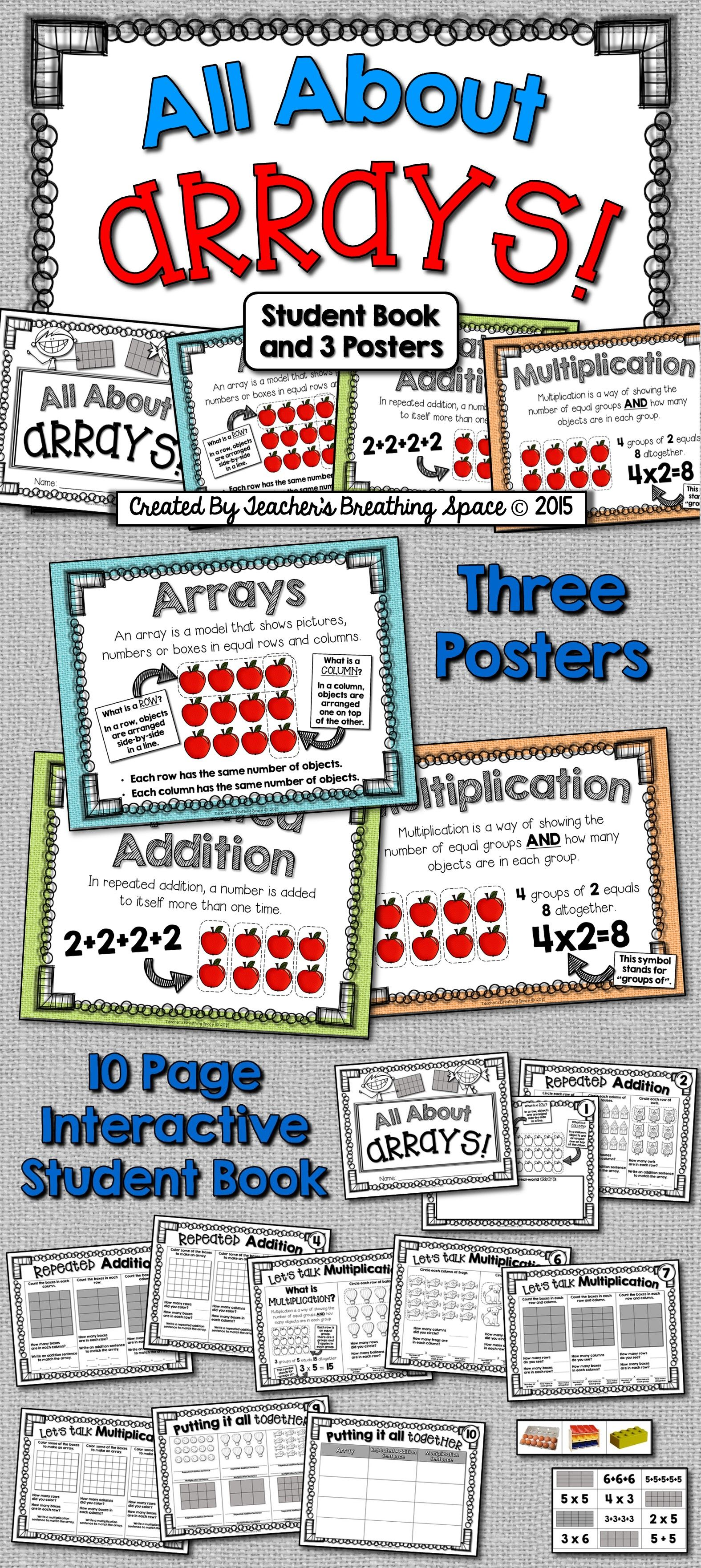 All About Arrays Array Book And Array Posters Intro To Multiplication