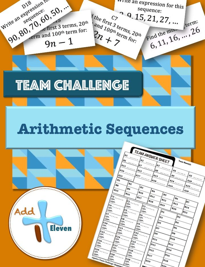 Arithmetic Sequences (Algebra TEAM CHALLENGE task cards - arithmetic sequence example