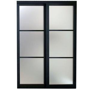 Contractors Wardrobe 84 In X 81 In Eclipse 3 Lite Bronze Aluminum Frame Mystique Glass Interior Sliding Door Ec3 8481bz2x The Home Depot In 2020 Sliding Doors Interior Contractors Wardrobe Sliding Doors