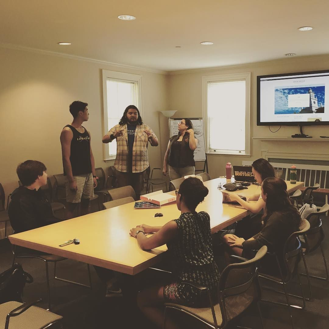 This morning our #designthinking for #marketing students are now TESTing their product on current students who were new to @phillipsacademy this year -- thank you Claudia '17 and Miles Ria and Zoe (all '20) for being our focus group! by andoveradmissions